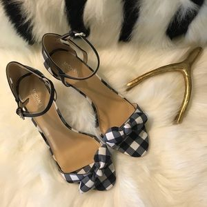 Blue and White Gingham Heels